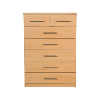 New Anderson 5 + 2 Drawer Chest - Beech Effect.