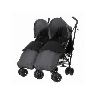 Obaby Apollo Twin Stroller - Grey with Grey Footmuffs