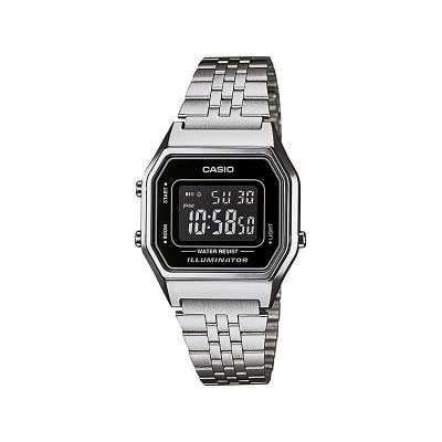 Casio Ladies' Silver Tone Black Dial Digital Watch