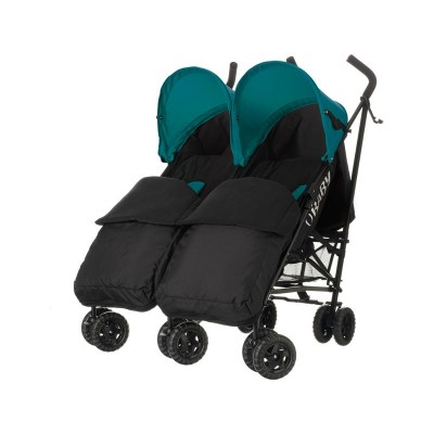 Obaby Apollo Twin Stroller - Turquoise with Black Footmuffs