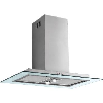 Baumatic BTI975GL 90cm Glass Island Cooker Hood - S Steel