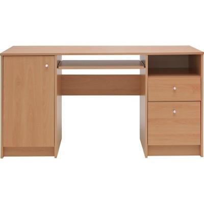 Malibu Double Pedestal Desk With Filer - Beech Effect.