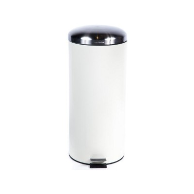 30LT CREAM PEDAL BIN WITH DOME LID
