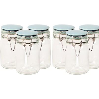 6PC CLIP SPICE JAR & PORCELAIN LIDS BLUE