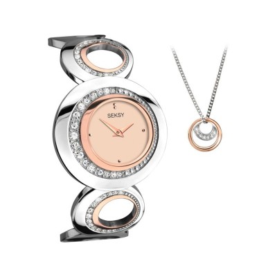 Seksy Ladies' Two Tone Bracelet Watch and Pendant Set
