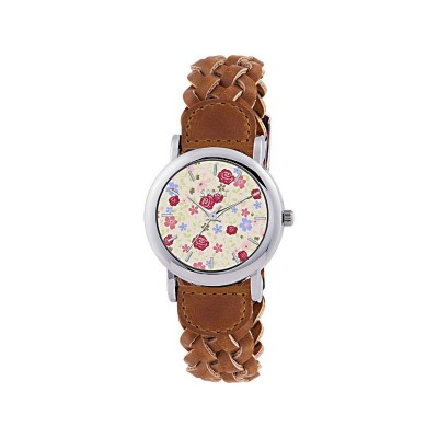 SPIRIT L FLOWER DIAL PLAIT STRAP WATCH