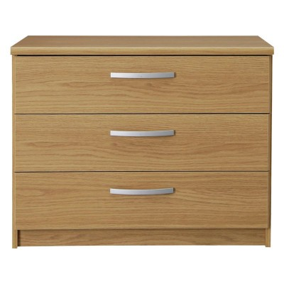 Hallingford 3 Wide Drawer Bedside Chest - Oak Effect.