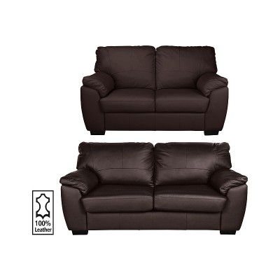 Argos Home Milano Leather 2 & 3 Seater Sofas - Chocolate