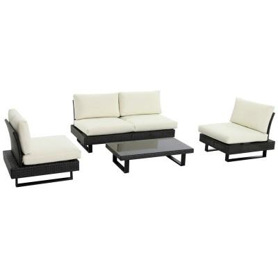Low Level Modern Rattan 4 Seater Garden Sofa Set