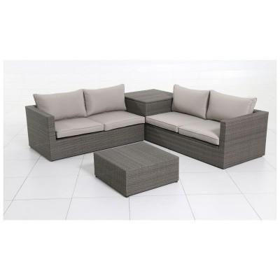 Rattan 4 Seater Garden Corner Sofa and Table Set