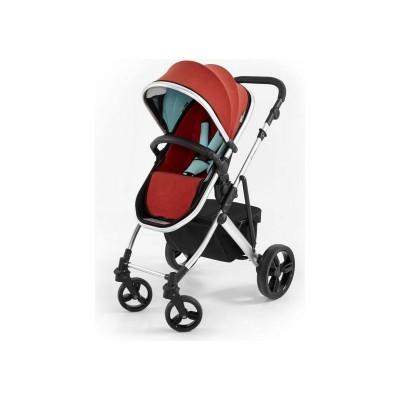 Tutti Bambini Riviera Plus 3in1 Silver Pushchair - Red/Aqua
