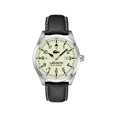 Lacoste Mens' Montreal Cream Dial and Black Strap Watch