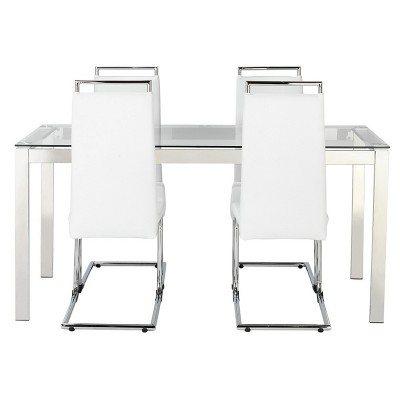 Hygena Apollo Glass Dining Table and 4 Chairs - White