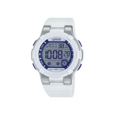 Lorus Girls' Digital Chronograph Purple/White Strap Watch