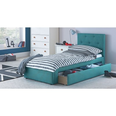 Upholstered Single Bed with Drawer and Bibby Mattress -Blue