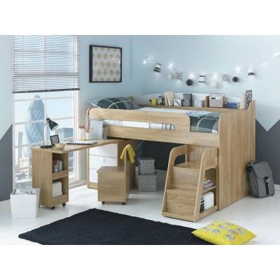 Ultimate Storage Midsleeper with Bibby Mattress-Wood Effect