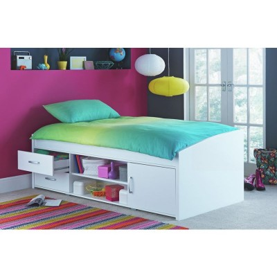 Yanniek Single Cabin Bed with Bibby Mattress - White