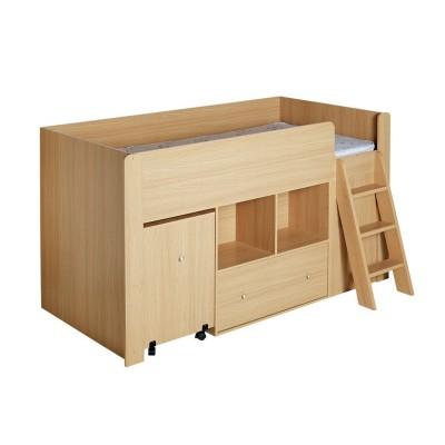 Quibrick Storage Single Midsleeper with Bibby Mattress -Oak