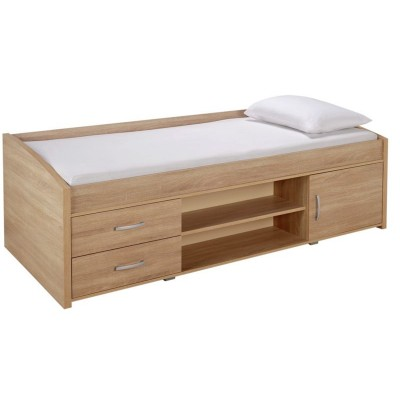 Yanniek Single Cabin Bed with Bibby Mattress - Oak