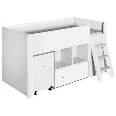 Qubrick Storage Single Midsleeper with Bibby Mattress-White