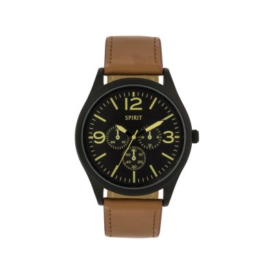 SPIRIT M BLK DIAL BROWN STRAP WATCH