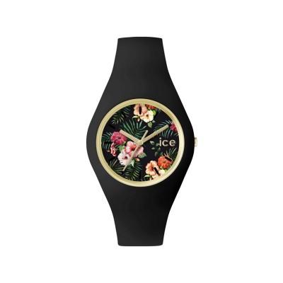 Ice Unisex Flower Pattern Black Silicone Strap Watch
