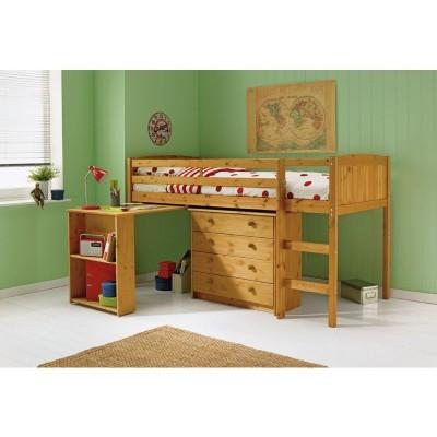 Kelsey Single Study Midsleeper Bed with Bibby Mattress-Pine