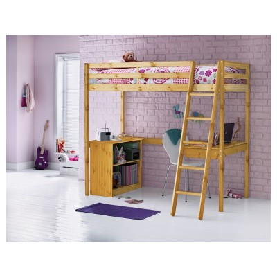Wooden Single High Sleeper Bed with Bibby Mattress - Pine
