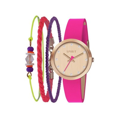 Spirit Girl's Pink Strap Watch and Bracelet