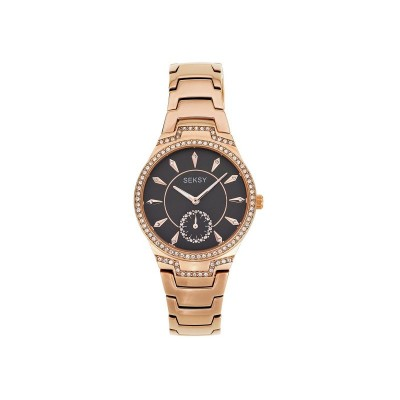 Seksy Ladie's Grey Dial Rose Gold Plated Watch