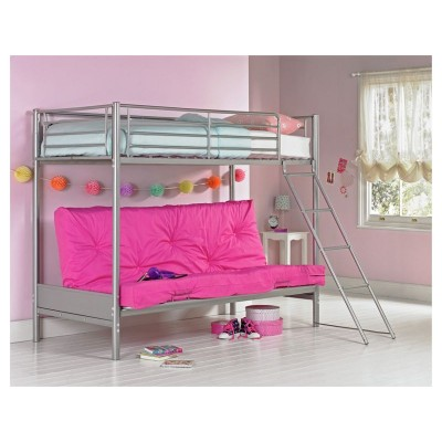 Metal Bunk Bed & Futon with Bibby Mattress-Silver & Fuchsia