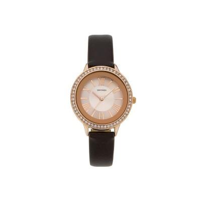 Sekonda Ladie's Rose Sunray Dial Brown Strap Watch