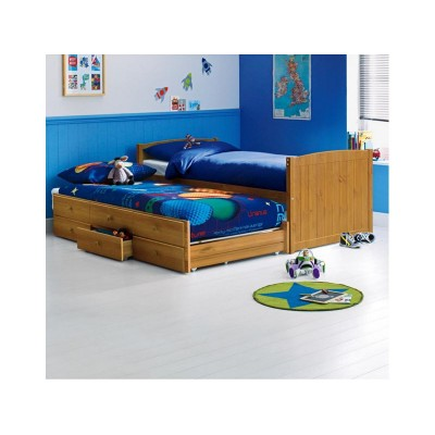 Frankie Single Cabin Bed with Trundle & Bibby Mattress-Pine