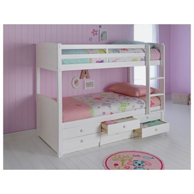 Leigh Detachable Single Bunk Bed & 2 Bibby Mattresses-White