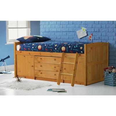 Tori Single Midsleeper Bed Frame with Bibby Mattress - Pine