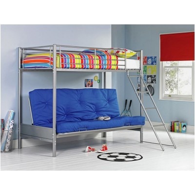 Metal Bunk Bed and Futon with Bibby Mattress -Silver & Blue