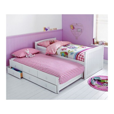 Frankie Single Cabin Bed with Trundle & Bibby Mattress-White