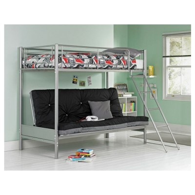 Metal Bunk Bed & Futon with Bibby Mattress - Silver & Black