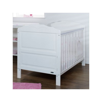 Obaby Beverley Cot Bed, Mattress & Pink Bedding - White