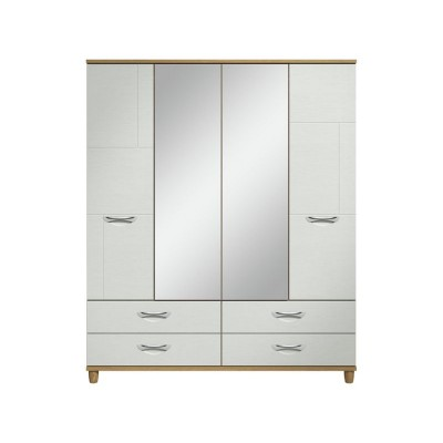 MYRA 4DR MIRRORED GENTS ROBE OAK WHITE