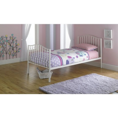 Romantic Metal Single Bed with Ashley Mattress - Cream