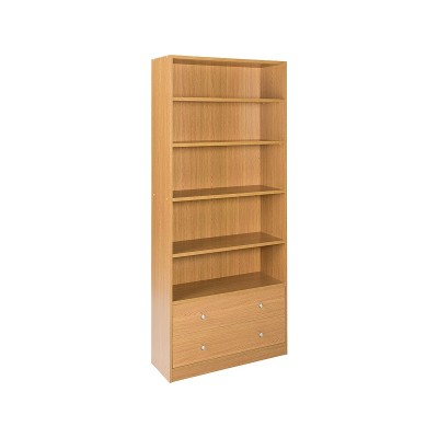 Argos Home Maine 4 Shelf 2 Drawer Bookcase - Oak Effect