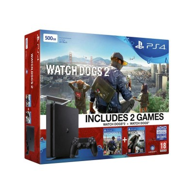 PS4 500GB Slim Console, Watch Dogs 2 Bundle