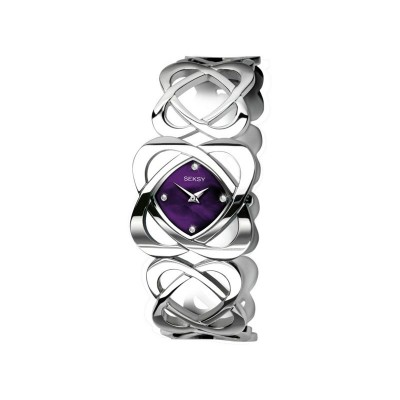 Seksy Ladies' Purple Dial Crystal Set Hidden Hearts Watch