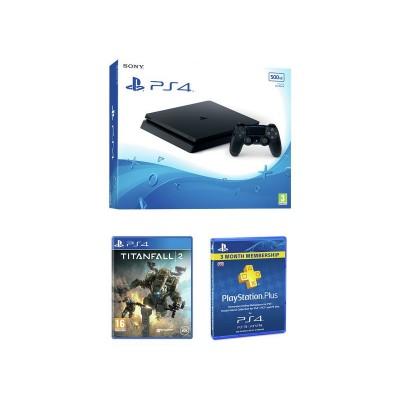 PS4 500GB Slim Console, Titanfall 2, 90 Day PSN Bundle