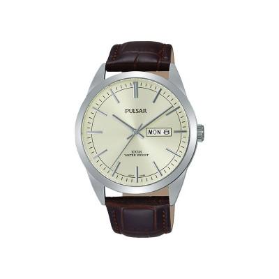 Pulsar Men's Brown Strap Cream Dial Watch