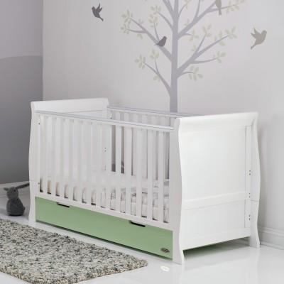 Obaby Stamford Cot Bed - White with Pistachio