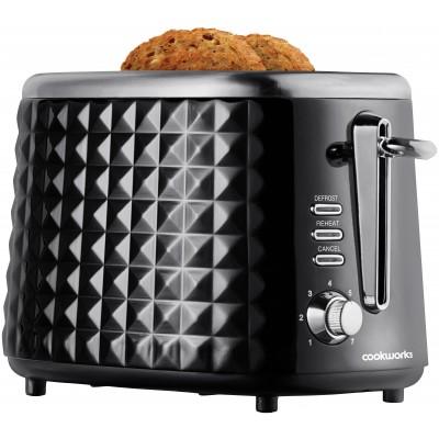 Cookworks Textured 2 Slice Toaster - Black