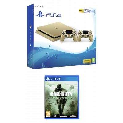 PS4 500GB Call of Duty 4, 2 x Dualshock Bundle - Gold