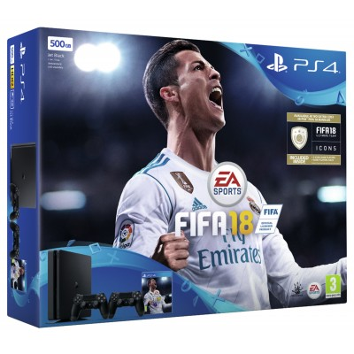PS4 SLIM 500GB FIFA 18 AND DUALSHOCK 4